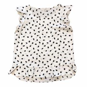 Loft White Blouse with Black Dandelion Print Small